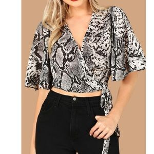 Snakeskin Wrap Crop Top Cover Up